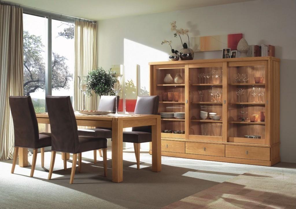 kleiner wohnschrank vitrinenschrank kantatus 3 schiebet ren mit glasscheiben eiche massiv. Black Bedroom Furniture Sets. Home Design Ideas