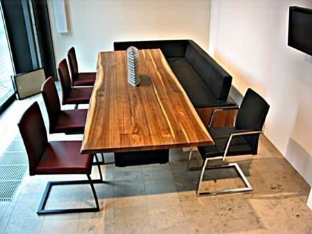 Esstisch tavolo massiver tisch mit stahlwangen for Naturholz tische esszimmer