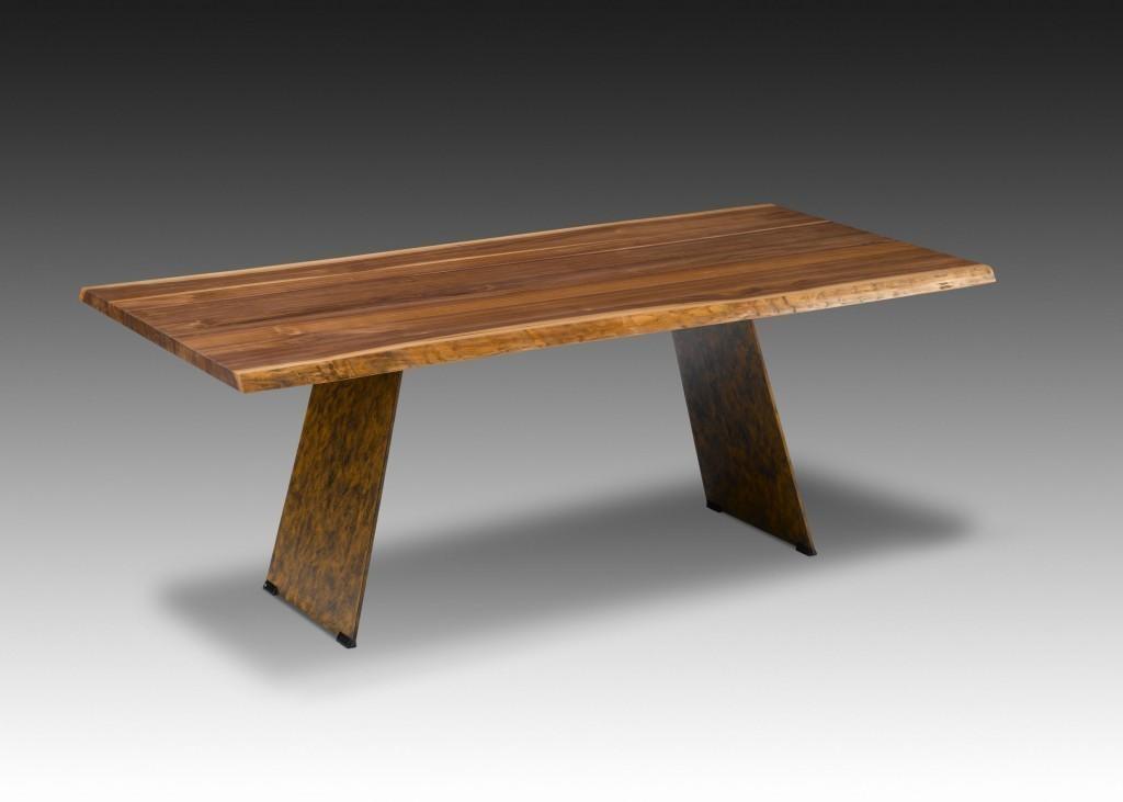 Esstisch nature massiver tisch wangentisch mit metallfu for Esstisch tisch