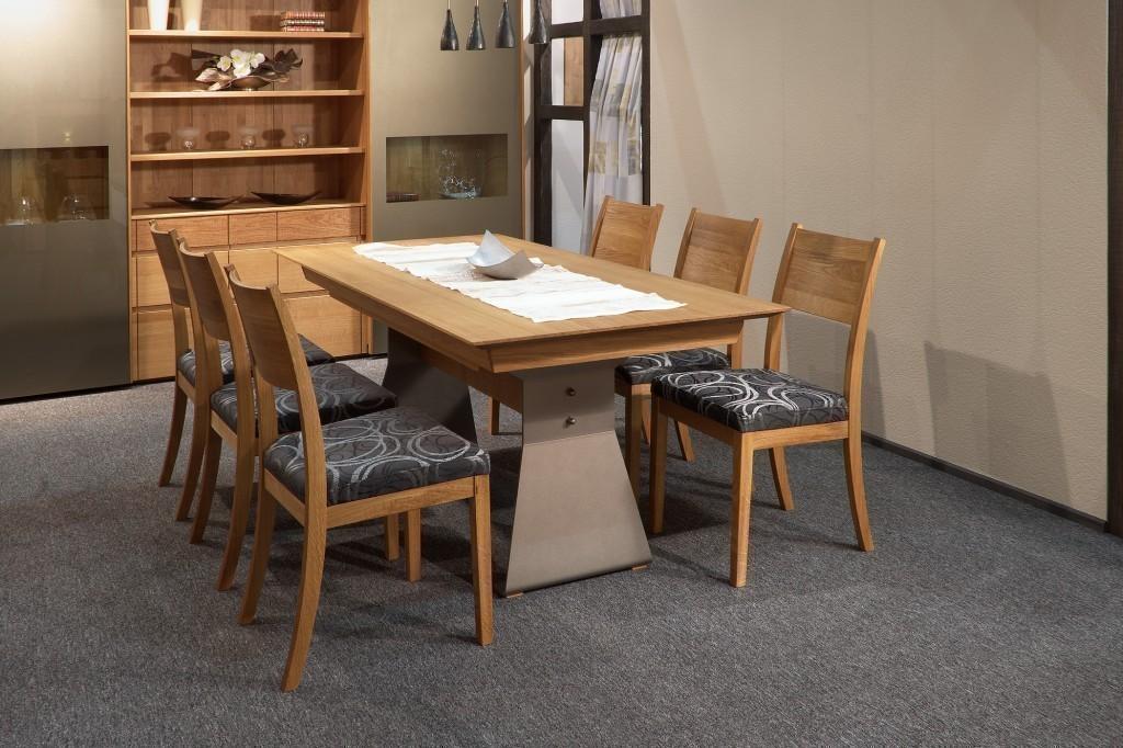 e tisch moderna mit metallwange in eiche asteiche buche kirschbaum kernbuche ahorn oder. Black Bedroom Furniture Sets. Home Design Ideas