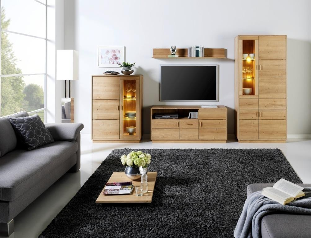 wohnwand kombination carla nr 2 vitrine lowboard und hochanrichte in eiche oder kernbuche. Black Bedroom Furniture Sets. Home Design Ideas