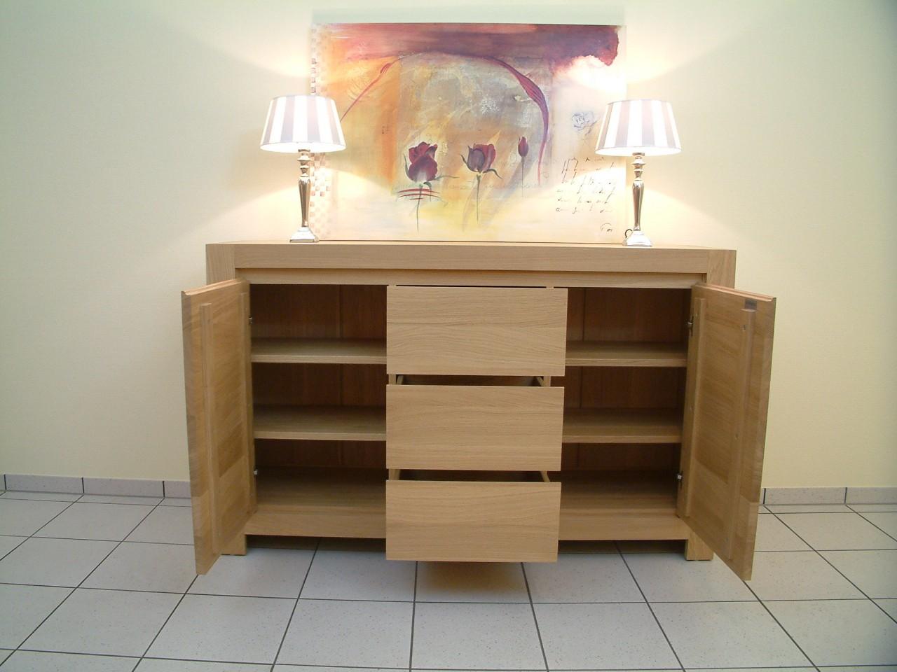 anrichte schermbeck eiche hell lackiert oder ge lt mit 2 t ren und 3 schubladen modern. Black Bedroom Furniture Sets. Home Design Ideas